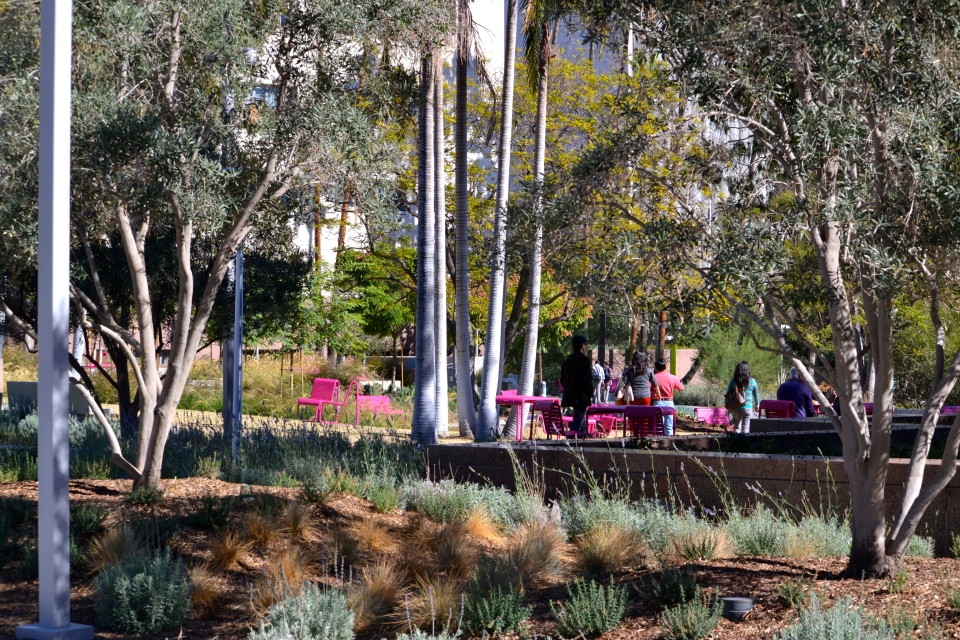 Pink Chairs in Grand Park gardens