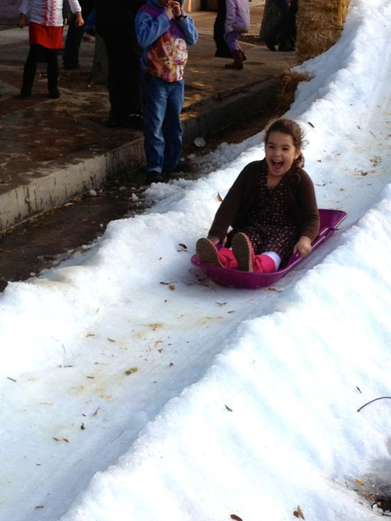 Sophia on sled