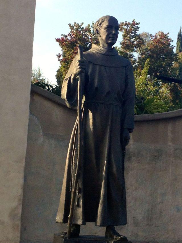Father Junipero Serra, statute in front of San Gabriel Mission