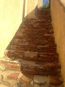 San Gabriel Mission brick stairs