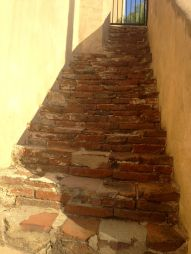 San Gabriel Mission brick stairs