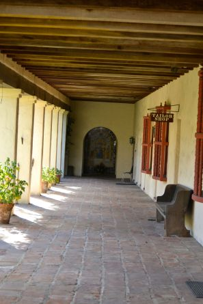 Santa Barbara Mission Portico to Courtyard