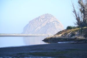 View of Morro Rock across wetlands