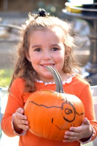Karina with her pumpkin