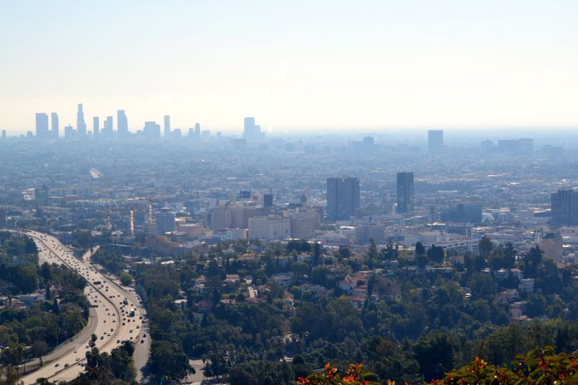Foggy L.A. skyline from Mulholland Drive