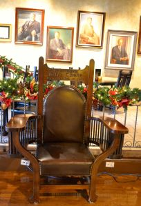 Extra large chair built specifically for President Taft's visit.