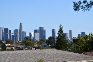 View of downtown Los Angeles, looking down over the rooftops