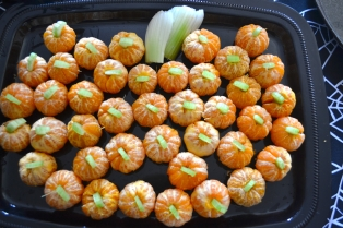 Tangerines and cucumber stems