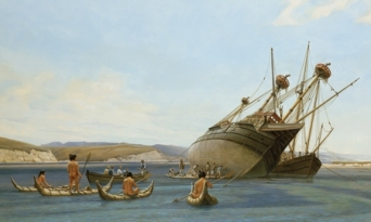 Gordon Miller's oil-on-canvas painting, A Fair and Good Bay, depicts Sir Francis Drake's ship — the Golden Hind — being careened in Drakes Estero.